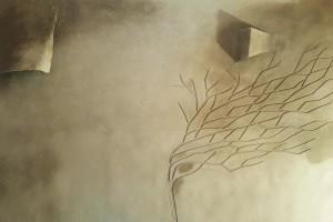 albero + lampade  in terra cruda della fattoria dell'autosufficienza