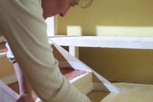 fase di rifinitura pavimento Tataki giallo